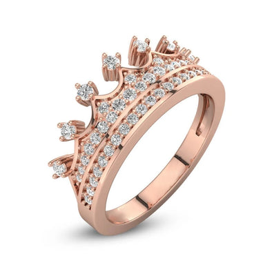 925 Sterling Silver Rose Gold Crown Promise Ring - onlyone