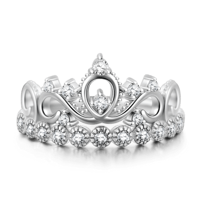 925 Sterling Silver Zirconia Crown Ring - onlyone