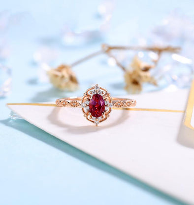 Garnet Engagement Ring Women Rose Gold Antique Oval cut Bridal Jewelry Art deco Halo Ring Anniversary Gift for Her - onlyone