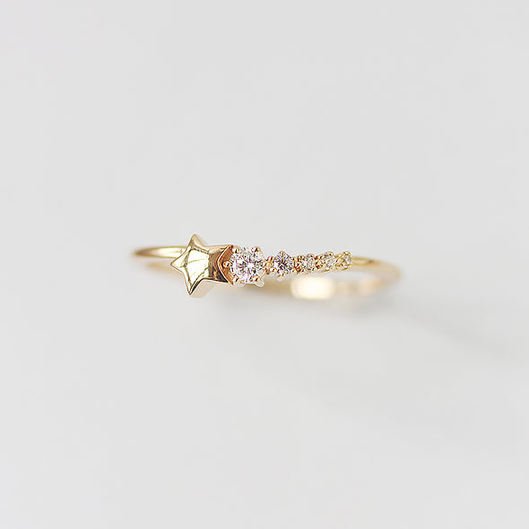 925 Sterling Silver Shooting Star Ring, Tiny Star Ring, Statement Ring, Stackable Ring - onlyone