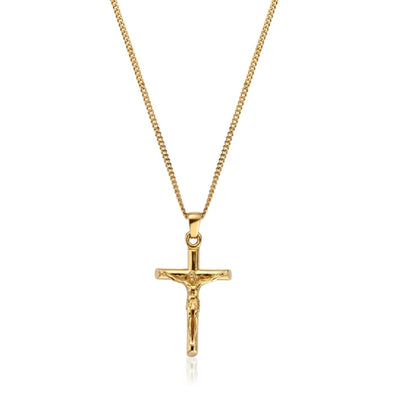 925 Sterling Silver 18K Gold Plated Crucifix Pendant Necklace - onlyone