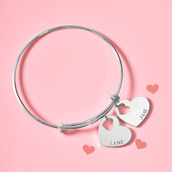 925 Sterling Silver Personalized Double Heart Name Bangle Expandable Love Bracelet