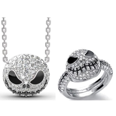 925 Sterling Silver Pumpkin King Jack Skull Necklace  Ring Set With White Zircon, Nightmare Before Christmas Necklace - onlyone