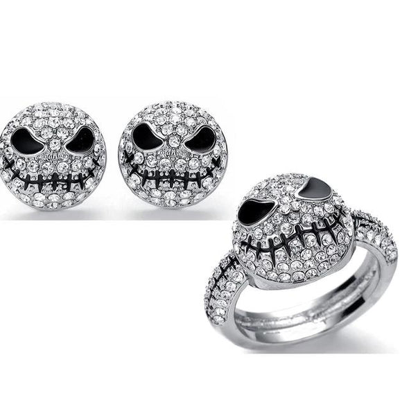 925 Sterling Silver Pumpkin King Jack Skull Ring Earring Set With White Zircon, The Nightmare Before Christmas - onlyone