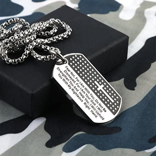 Stainless Steel Cross Dog Tag Pendant Necklace Strength Bible Verse, Father's Day Necklace - onlyone