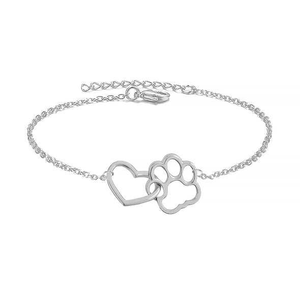 925 Sterling Silver Hollow Heart Puppy Pet Paw Print Anklet - onlyone