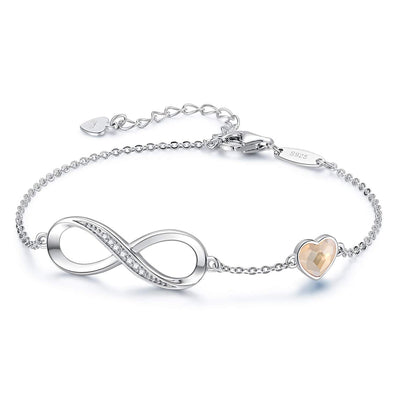925 Sterling Silver Infinity Bracelet Adjustable Bracelet