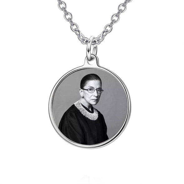 925 Sterling Silver Ginsburg Round Disc Photo Pendant Necklace