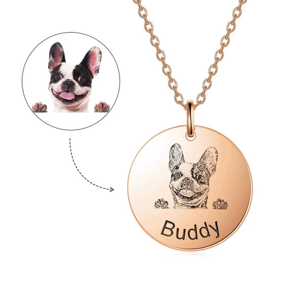 925 Sterling Silver Personalized Pet Photo Necklace Pet Lithograph Necklace