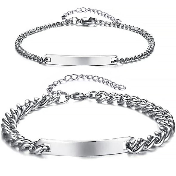 925 Sterling Silver Engraving Nameplate Couple Bracelet Set
