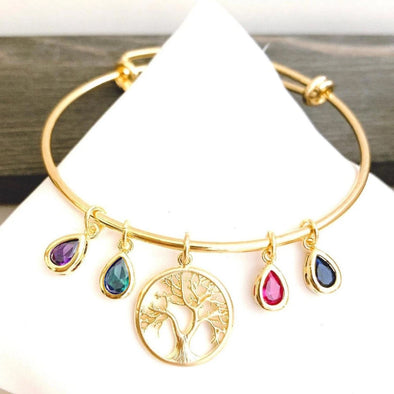 925 Sterling Silver Family Tree Bangle With Birthstone