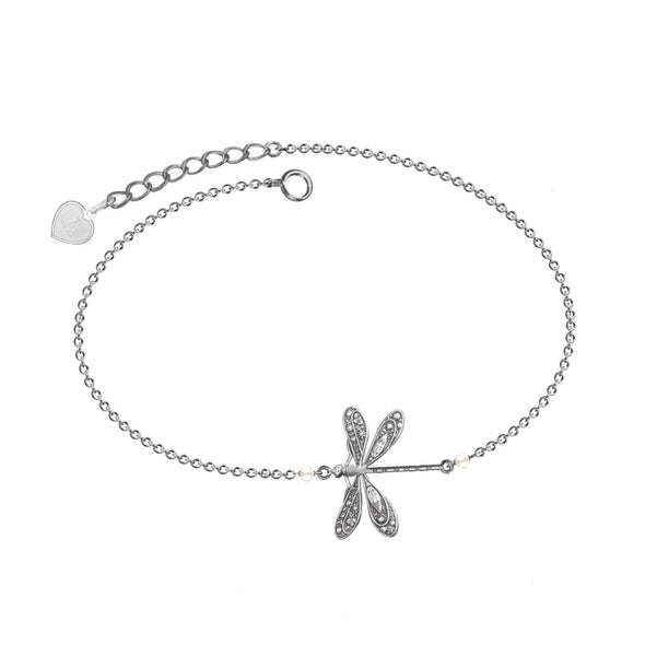 925 Sterling Silver Dragonfly Anklet With Pearl