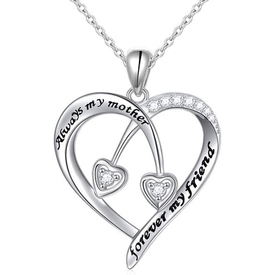 925 Sterling Silver Always My Mother Forever My Friend Heart Pendant Necklace