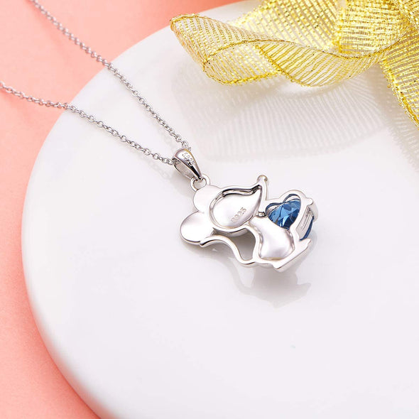 925 Sterling Silver Cute Animal Jewelry Cubic Zirconia Love Heart Pendant Necklace for Women - onlyone