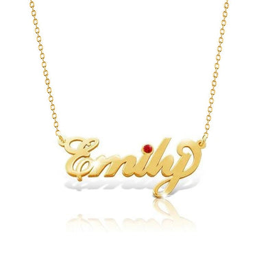 925 Sterling Silver Birthstone Emily Signature Name Necklace Cursive Nameplate Necklace, Birthday Gifft - onlyone