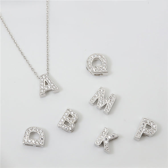 925 Sterling Silver Initial Necklace For Women With Zirconia Vote Necklace