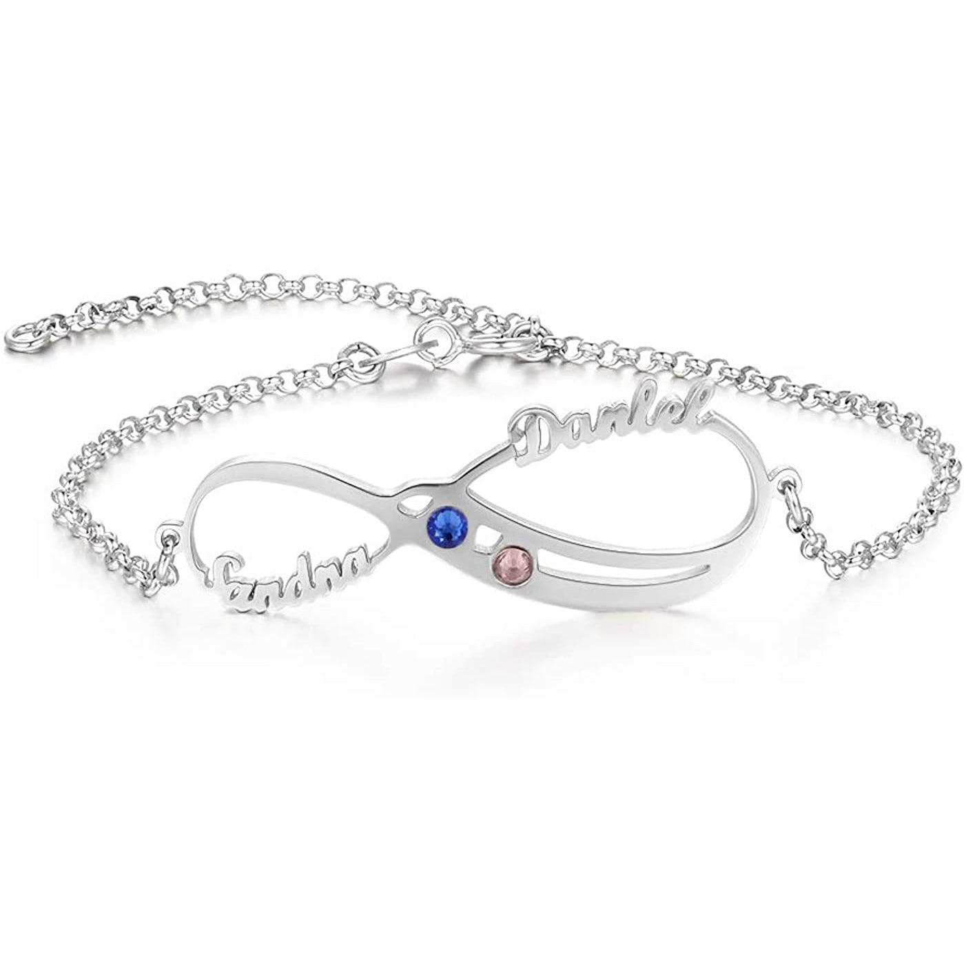 925 Sterling Silver Personalized Infinity Anklet With Birthstone - onlyone