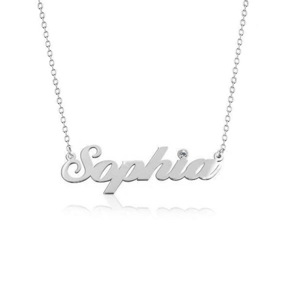 925 Sterling Silver Birthstone Sophia Signature Name Necklace Nameplate Necklace - onlyone