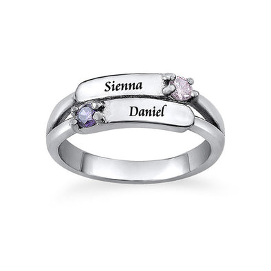 925 Sterling Silver Double Birthstone Ring with Engraving - onlyone