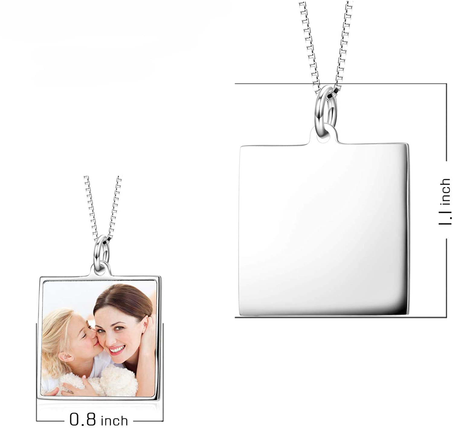 925 Sterling Silver Full Color Photo Picture Personalized Necklace Custom Etched Dog Tag Image Pendant with Message Name - onlyone