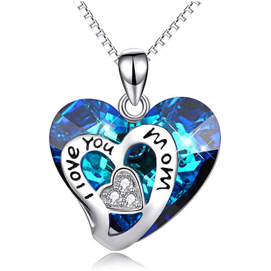 925 Sterling Silver I Love You Mom Heart Crystal Pandent Necklace
