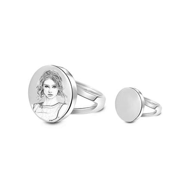 925 Sterling Silver Personalized Circle Photo Engraved Ring - onlyone