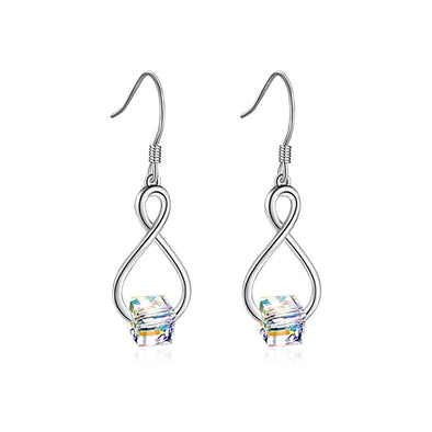 925 Sterling Silver Cube Swarovski Crystal Dangle Drop Infinity Earrings for Women