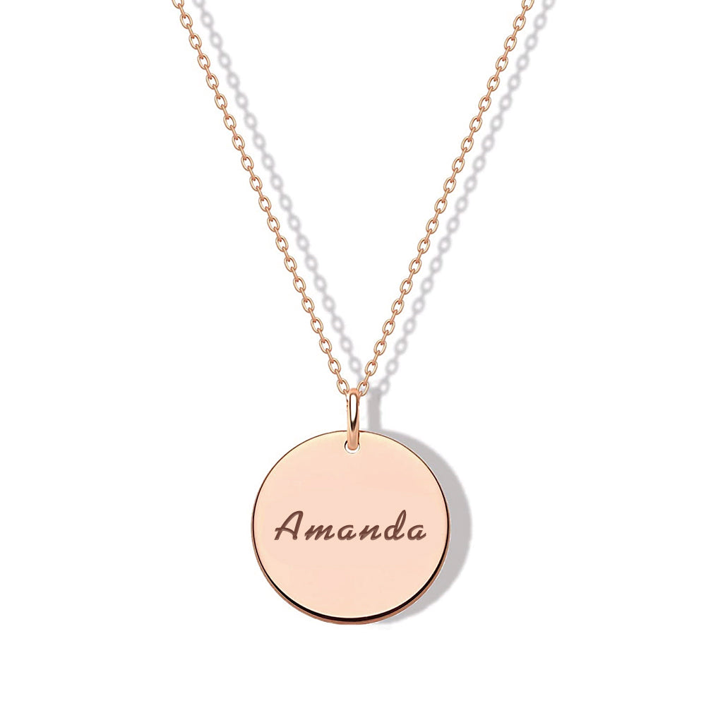 925 Sterling Silver Engraved Coin Name Necklace Nameplate Necklace - onlyone