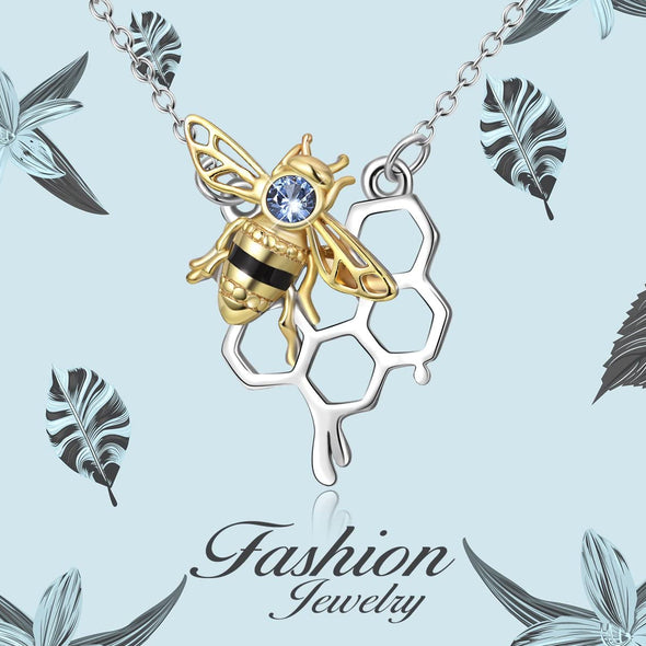 925 Sterling Silver Honey Bumble Bee Necklace with Honeycomb, Fine Jewelry Gift for Women - onlyone