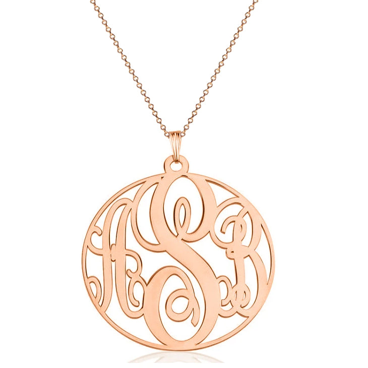 925 Sterling Silver Initial Monogram Necklace