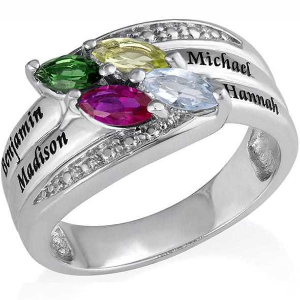 925 Sterling Silver Engraved Mothers Ring With 4 Birthstones and Names - onlyone