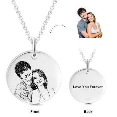925 Sterling Silver Engraved Coin Photo Necklace Inspirational Gift - onlyone