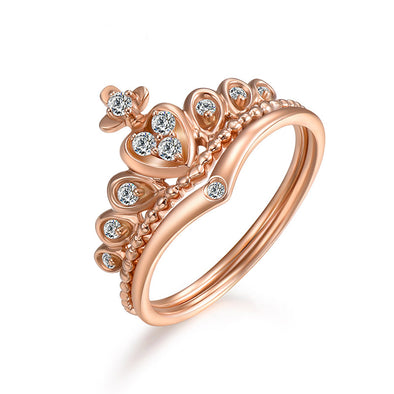 OnlyOne Roman Holiday Gift in 18K Rose Gold Crown Ring for Her - onlyone