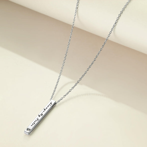 925 Sterling Silver 2 Sides Engraved Vertical Bar Necklace Gift For Sisters. Always My Sister, Forever My Friend - onlyone