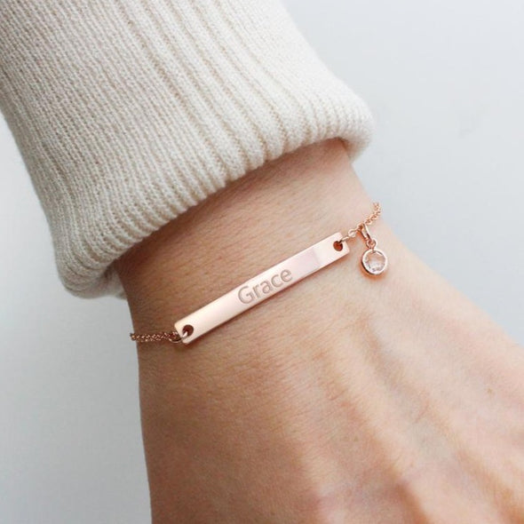Sterling Silver Customized Name Bar Bracelet With Birthstone Gift For Her Bridesmaid Bracelet Nameplate Bracelet - onlyone