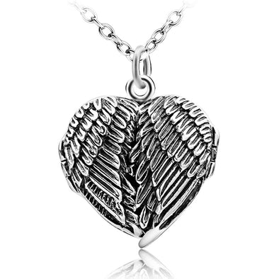 925 Sterling Silver Angel Wings Photo Locket Necklace, Retro Style Heart Shape Pendant Necklace - onlyone