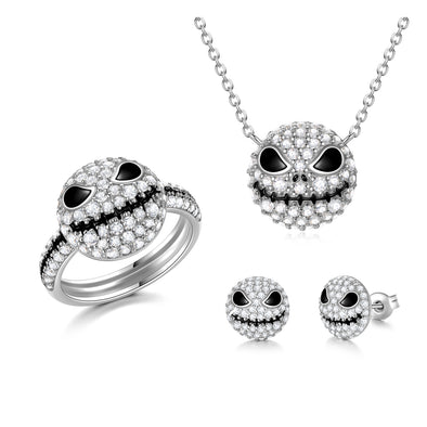 925 Sterling Silver Pumpkin King Jack Skull Necklace Ring Earrings Set With White Zircon, Nightmare Before Christmas Jewelry, Halloween Gift