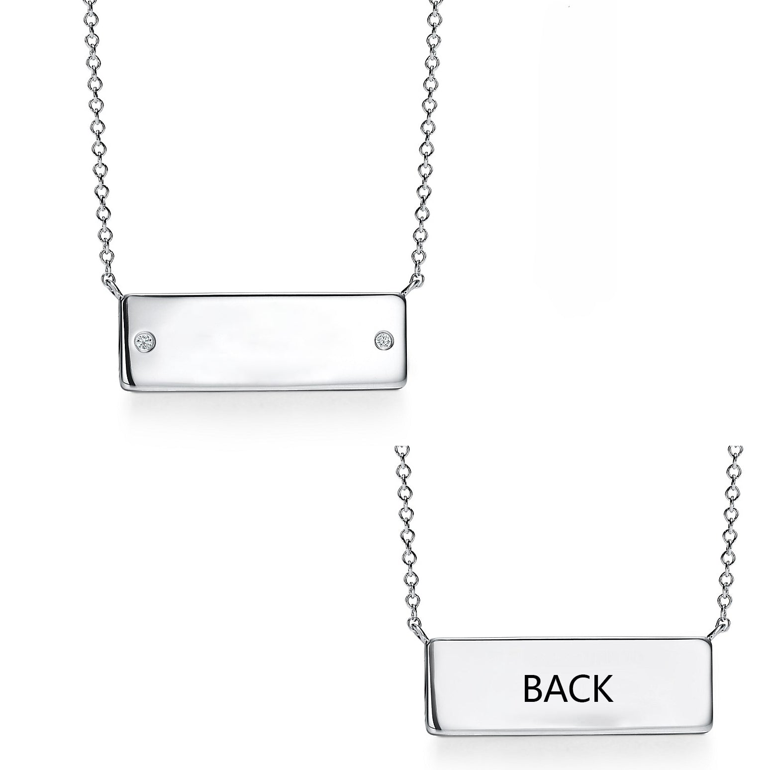 925 Sterling Silver Classic Bar Necklace With Zirconia - onlyone