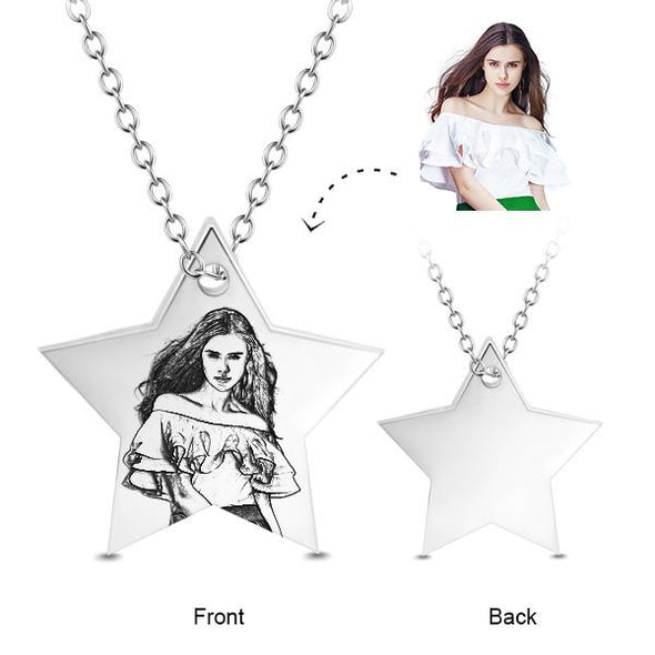 925 Sterling Silver Star Engraved Photo Necklace - onlyone