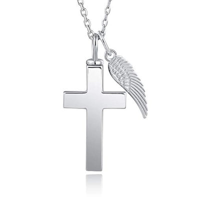 925 Sterling Silver Angel Wing Cross Cremation Jewelry Memorial Keepsake Cross Urn Necklace
