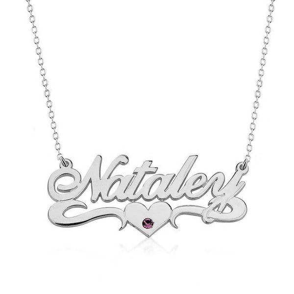925 Sterling Silver Birthstone Heart Name Necklace Nameplate Necklace - onlyone