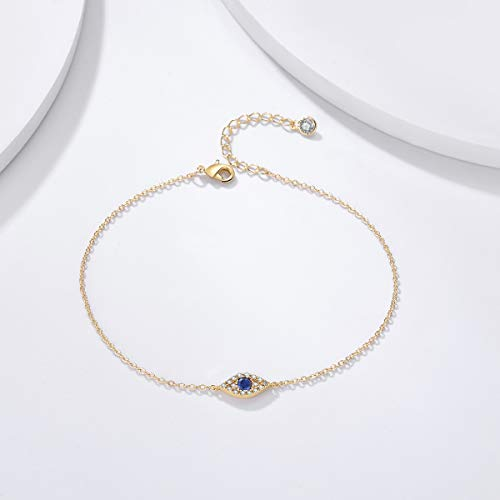 925 Sterling Silver Evil Eye Anklet Bracelet For Women - onlyone