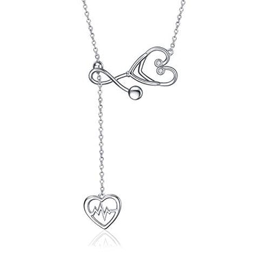 925 Silver White Angel Gift Series: loving care stethoscope necklace - onlyone
