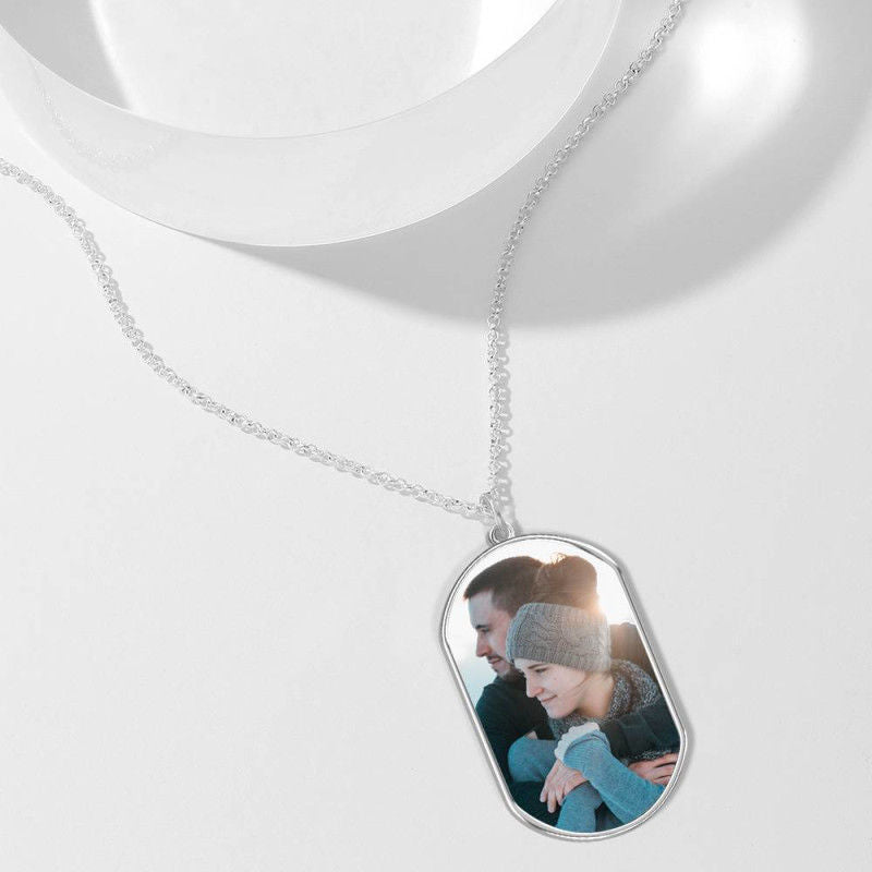 925 Sterling Silver Dog Tag Photo Necklace, Engravable On Back - onlyone