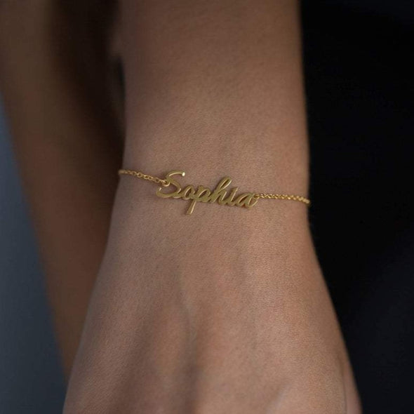 925 Sterling Silver Name Bracelet, Nameplated Bracelet - onlyone
