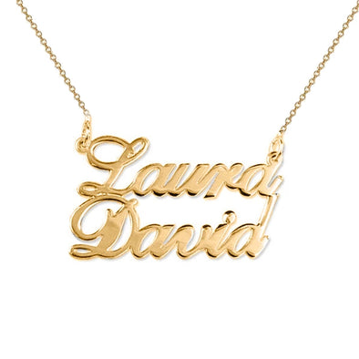 925 Sterling Silver Two Name Pendant Necklace Nameplate Necklace