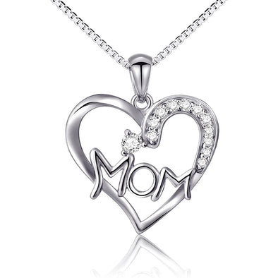 925 Sterling Silver Heart Pendant Necklace, Gift For Mom
