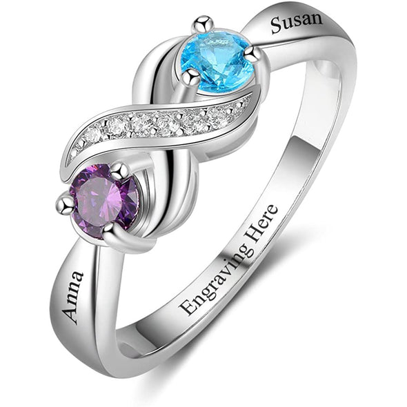 925 Sterling Silver Personalized Infinity Mothers Rings With 2 Round Simulated Birthstones - onlyone