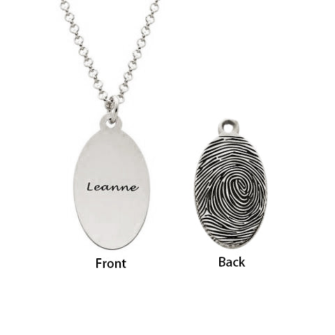 925 Sterling Silver Personalized Engraved Fingerprint Thumbprint Oval Name Necklace Nameplate Necklace - onlyone