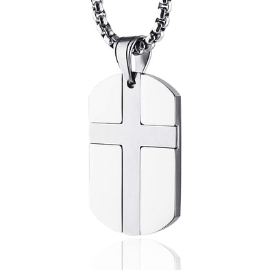 Stainless Steel Cross Dog Tag Pendant Necklace Strength Bible Verse, Father's Day Gift - onlyone